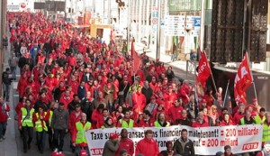 الآلاف يتظاهرون ضد إجراءات التقشف فى بلجيكا