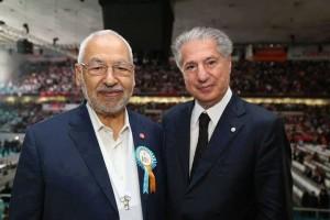 الشيخ راشد الخريجي (الغنوشي) و وأمين الجميّل، رئيس الجمهورية اللبنانية بين 22 سبتمبر 1982و22 سبتمبر 1988