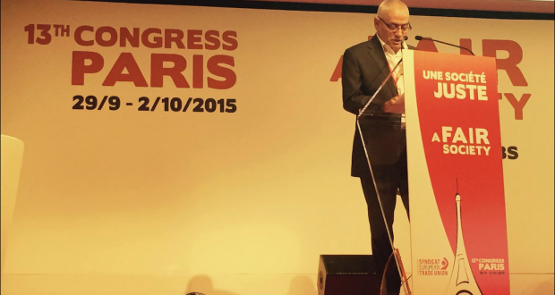 في المؤتمر الدولي للنقابات الأوروبية حسين العباسي يدعو لتغيير سياسة أوروبا تجاه المهاجرين