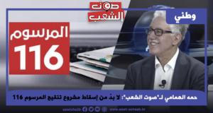 """حمه الهمامي لـ""""صوت الشعب"""": لا بدّ من إسقاط مشروع تنقيح المرسوم 116"""